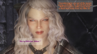 """Considering he ran out of the tavern crying, probably. He should feel lucky. Not just anyone walks away from a shout that nasty from my little sis."" – Othor ""Go to Oblivion, Othor."" – Oona"