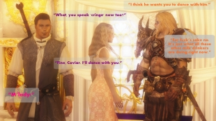 """I think he wants you to dance with him."" – Othor ""What, you speak cringe now too?"" – Oona ""For fuck's sake no. It's just what all these other milk drinkers are doing right now."" – Othor ""Fine, Caviar. I'll dance with you."" – Oona ""M'lady!"" – Caviar"